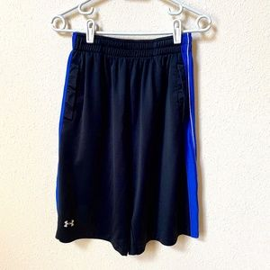 Under Armour Mens Black and Blue Athletic Shorts